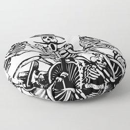 Calavera Cyclists | Black and White Floor Pillow