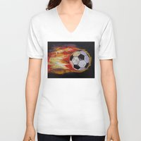 soccer V-neck T-shirts featuring Soccer by Michael Creese