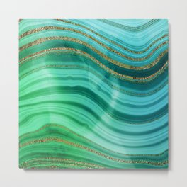 Ocean Blue And Green Mermaid Glamour Marble Metal Print