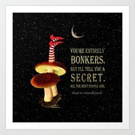 Crazy Wonderland - Alice In Wonderland Quote Art Print