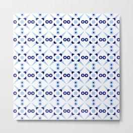 Symmetric patterns 141 Dark and light blue Metal Print