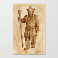 nori Canvas Prints featuring Nori the Dwarf - in coffee by Kotte