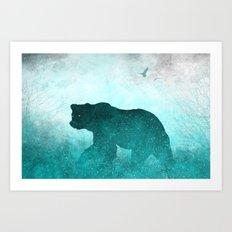 Teal Ghost Bear Art Print