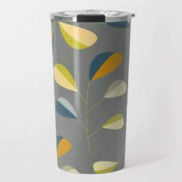 Mid Century Modern Graphic Leaves Pattern 3. dark grey Travel Mug