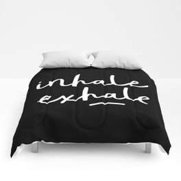 Inhale Exhale black-white typography poster black and white design bedroom wall home decor Comforters