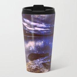 Magical Mountain Lake Golden Indigo Travel Mug