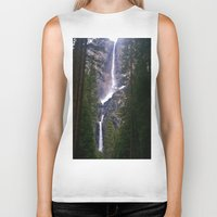 yosemite Biker Tanks featuring Yosemite Waterfall by RENA16