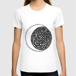 Black and white moon with dots T-shirt
