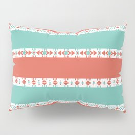 South Western Print in Modern Aqua Turquoise and Coral Geometric Diamonds Arrows Triangles Circles Pillow Sham