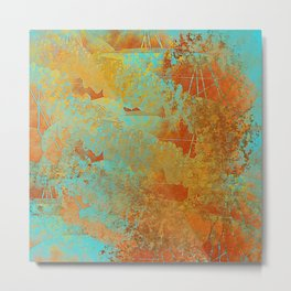 Turquoise and Copper-Red Metal Print