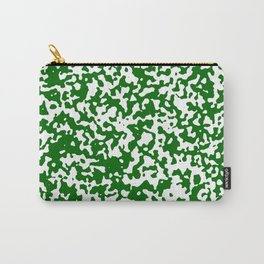 Small Spots - White and Dark Green Carry-All Pouch