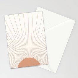Sunburst Minimal Sun, Terracotta, Mid Century Abstract Art, Boho  Decor Stationery Cards
