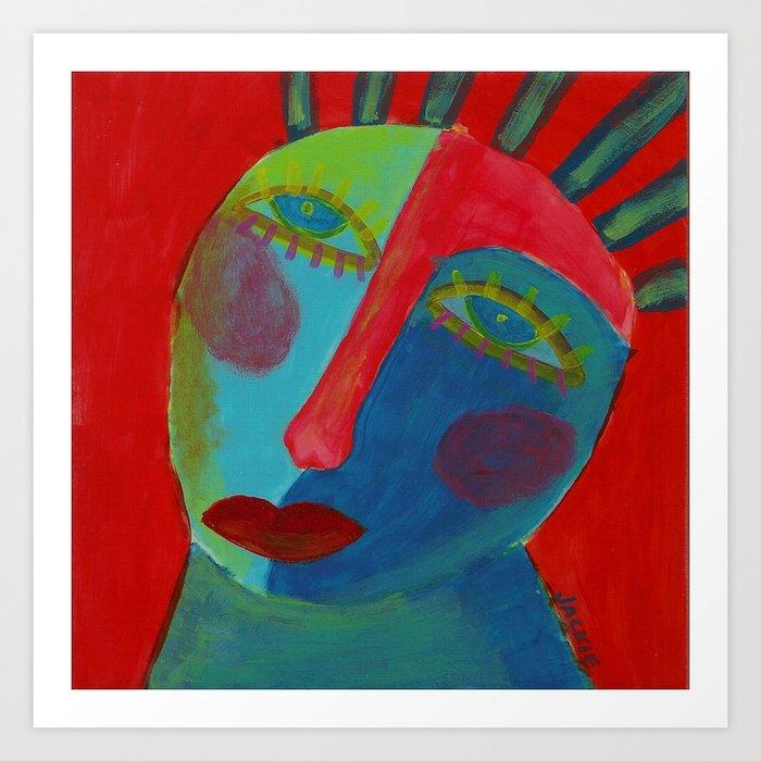Funky Abstract Face Original Acrylic Painting Art Print By Jackieludtke