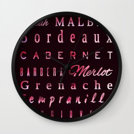 Red Wine Types Typography Poster Wall Clock