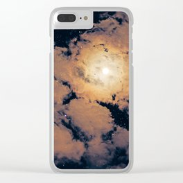 Full moon through purple clouds Clear iPhone Case