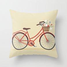 Flower Basket Bicycle Illustration Throw Pillow