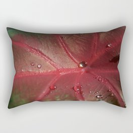Red Leaf with Water Droplets Rectangular Pillow