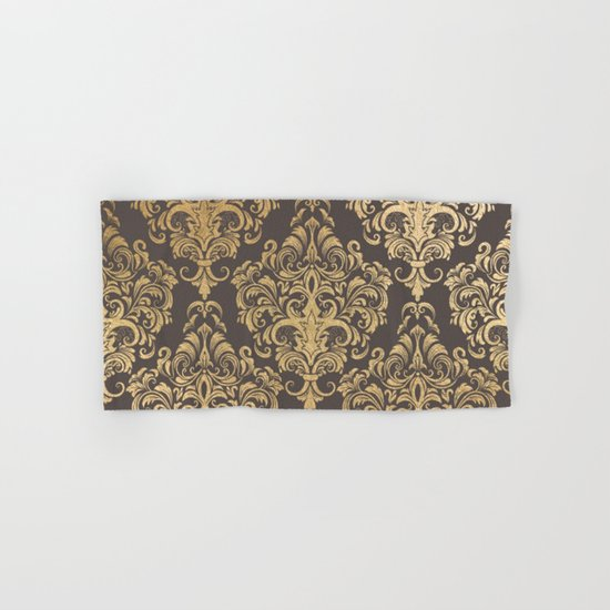 Gold swirls damask #7 Hand & Bath Towel