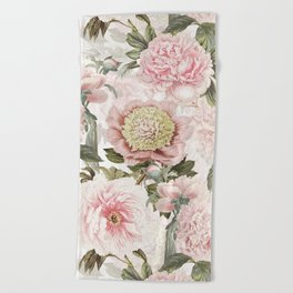 Vintage & Shabby Chic - Antique Pink Peony Flowers Garden Beach Towel