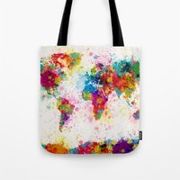 map Tote Bags featuring Map of the World Map Paint Splashes by artPause