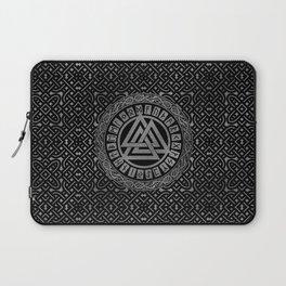 Silver Metallic Valknut Symbol on Celtic Pattern Laptop Sleeve