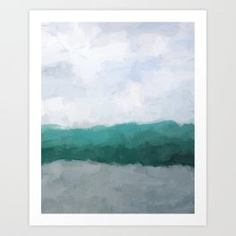 Aqua Teal Turquoise Sky Blue White Gray Abstract Wall Art, Painting Art, Water Surf Ocean Waves Art Print
