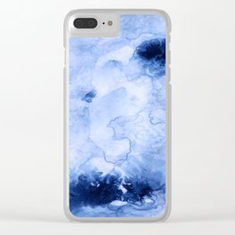 Marbled Water Blue Clear iPhone Case