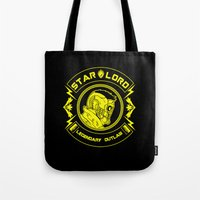 star lord Tote Bags featuring Star Lord legendary outlaw by CarloJ1956