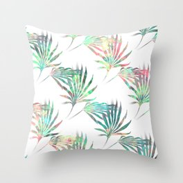 Palmetto Fronds Tropical Multicolor Pattern Throw Pillow