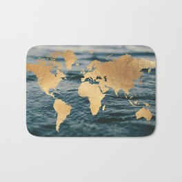 Gold Map in Water Bath Mat
