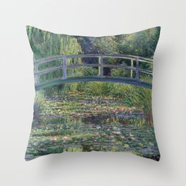 Water Lilies and the Japanese Bridge by Claude Monet Throw Pillow