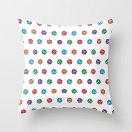 D20 multiple dice non-linear Throw Pillow