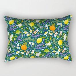 Essential Oils Love on Dark Teal Green Rectangular Pillow
