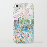 boston map iPhone & iPod Cases featuring boston city skyline map by Bekim ART