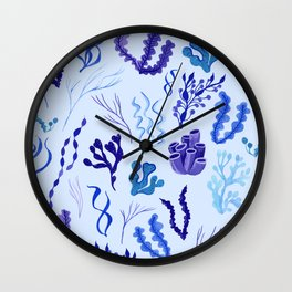 Funky Seaweed in Blue and Purple Wall Clock