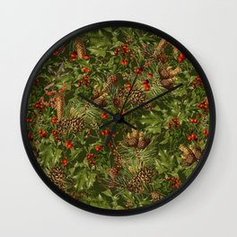 Traditional Holly Christmas Pattern Wall Clock