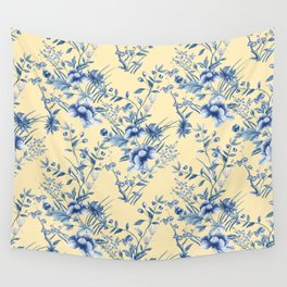 Chinoiserie Flowers Blue on Lemon Honey Creme Wall Tapestry