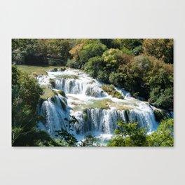 Waterfall in Krka National Park - Croatia Canvas Print