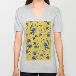 Elegant Blue Passion Flower on Mustard Yellow Unisex V-Neck