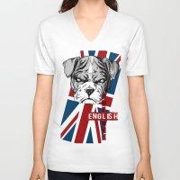 english bulldog V-neck T-shirts featuring English Bulldog by Det Tidkun