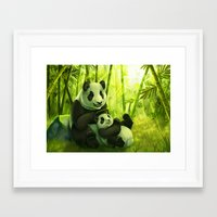 pandas Framed Art Prints featuring Pandas by Keshi