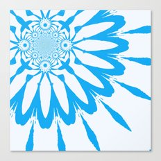 The Modern Flower White and Blue Canvas Print