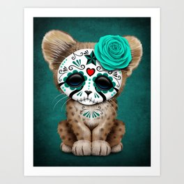Blue Day of the Dead Sugar Skull Cheetah Cub Art Print