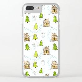 Alpine Ski Resort on White Clear iPhone Case