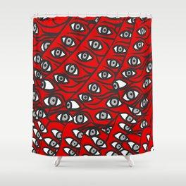 Freddie Eyeballs Red Shower Curtain
