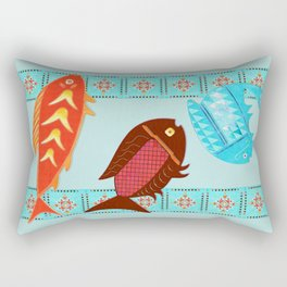 Native American River Folk Art Rectangular Pillow