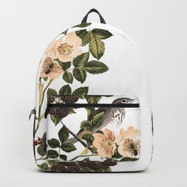 Blackberry Spring Garden - Birds and Bees Cream Flowers Backpack