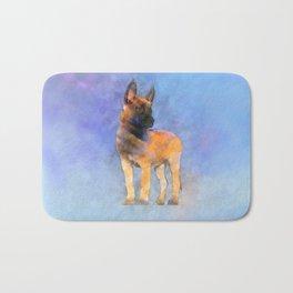 Belgian Malinois Puppy Painting - Mechelaar Bath Mat