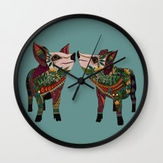 pig love jade Wall Clock