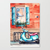 vespa Canvas Prints featuring Vespa by Alla Lsk